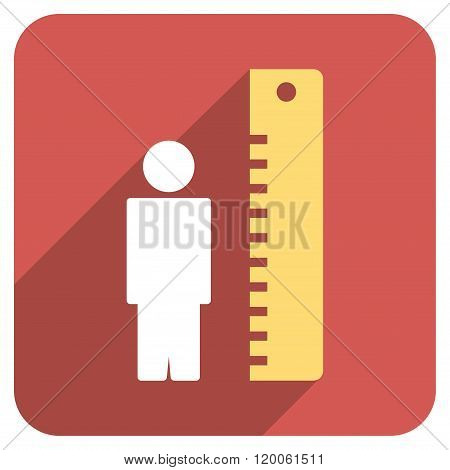 Man Height Meter Flat Rounded Square Icon with Long Shadow