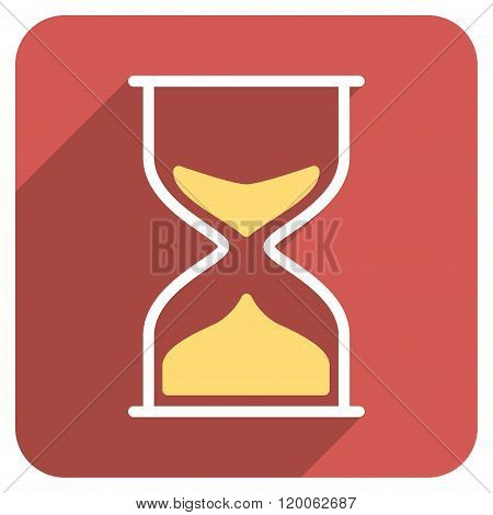 Hourglass Flat Rounded Square Icon with Long Shadow