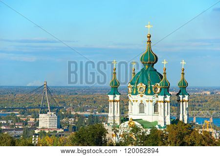 Famous Saint Andrew's Church. Kiev, Ukraine