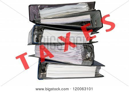Tax File Folders On White Background.
