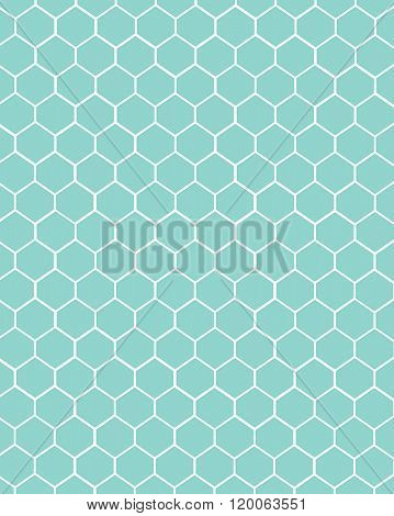 Vector contemporary teal honeycomb pattern and wall paper