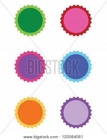 Colourful vector seal and attention grabber set in varuious colours