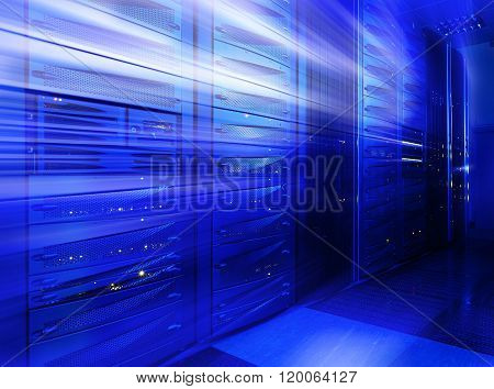 Mainframe stack in the server room blue blur