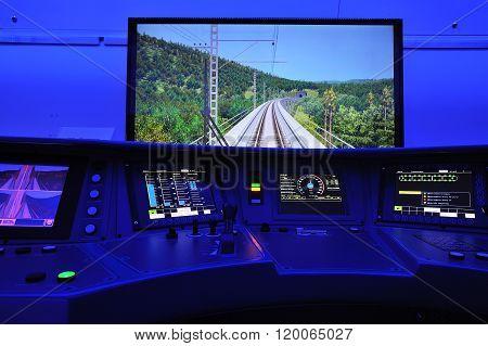 Orel, Russia - August 24, 2015: Russian Engine-driver Simulator