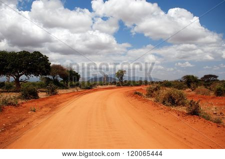 A Red Road In Tsavo-west National Park / Kenia