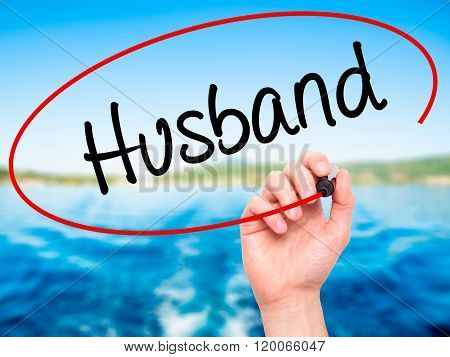 Man Hand Writing Husband With Black Marker On Visual Screen.