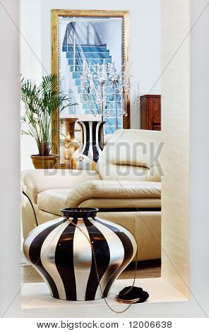 Part Of Modern Art Deco Style Drawing-room Interior With Striped Vase