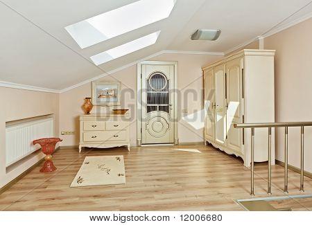 Modern Art Deco Style Loft Room Interior In Light Beige Colors