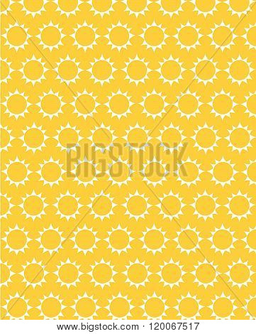 Yellow vector repeating sunshine pattern and wall paper