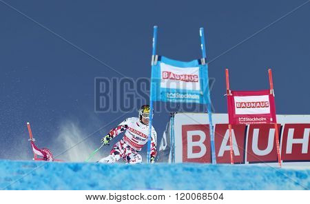 STOCKHOLM SWEDEN - FEB 23 2016: Skier Marcel Hirscher (AUT) at the FIS Alpine Ski World Cup - city event February 23 2016 Stockholm Sweden