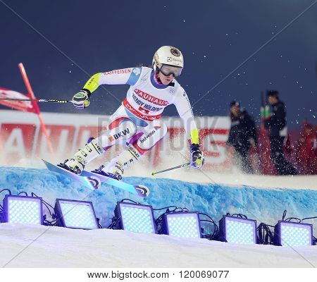STOCKHOLM SWEDEN - FEB 23 2016: Wendy Holdener (SUI) jumping at the FIS Alpine Ski World Cup - city event February 23 2016 Stockholm Sweden