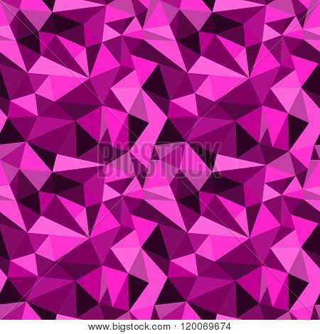 Vector Seamless Pink Abstract Geometric Rumpled Triangular Graphic Background. Digital Vector Illust