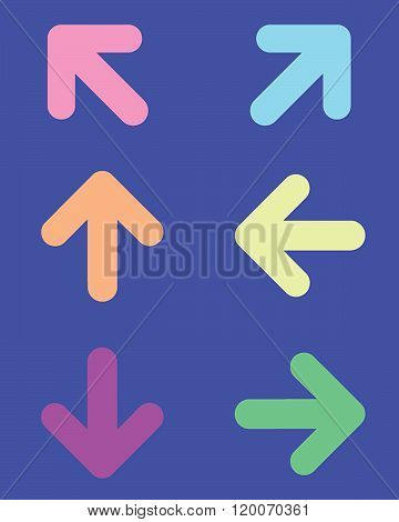 A collection of colourful directional vector arrows