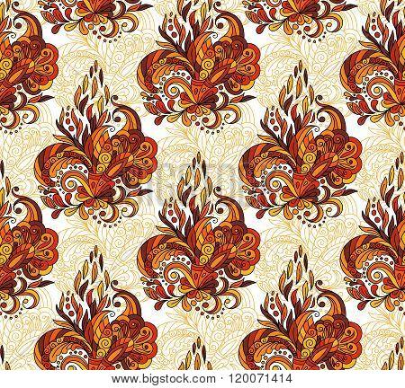 Seamless pattern with mehendi elements. Vintage background in indian batik style. Floral vector illustration in orange brown tone.
