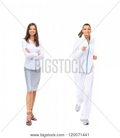 woman in business attire and tracksuit