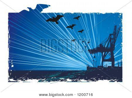 Crane& Flying Birds