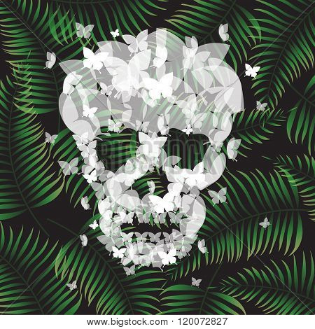 Skull Illustration With butterflies and Tropical Background