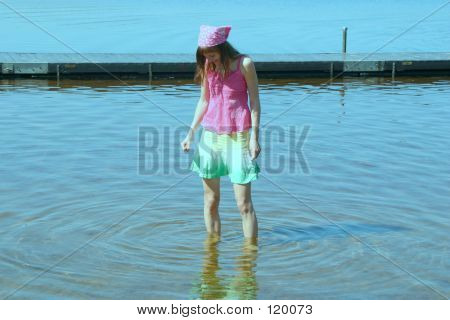 Girl And Blue Water