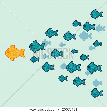 The school of fish. Concept of leadership.