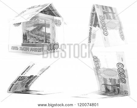 Black 5000 Russian Ruble Set, Rouble House Isolated, White Background