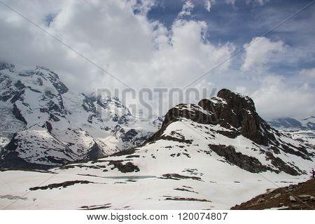 Glacier at gornergrat station, zermatt, switzerland