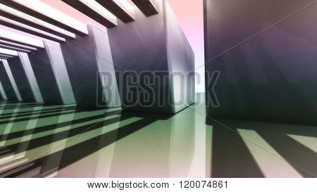Sunset Of Futuristic 3D Corridor Side