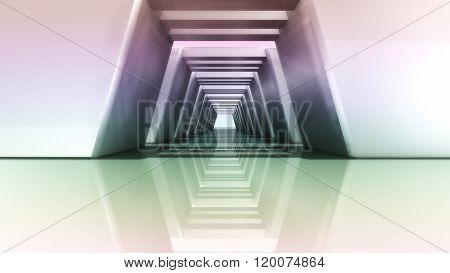 Sunset Of Futuristic 3D Corridor Wide