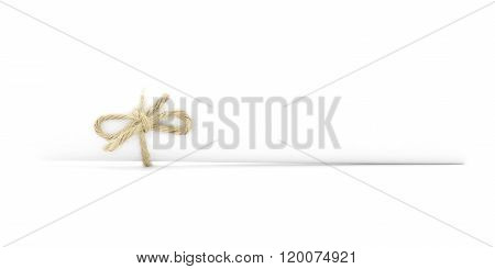 White Message Roll Tied With String, Left Natural Knot Isolated