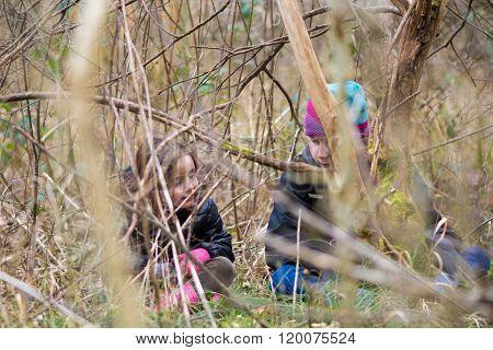 Children Seen Through Branches In Woodland
