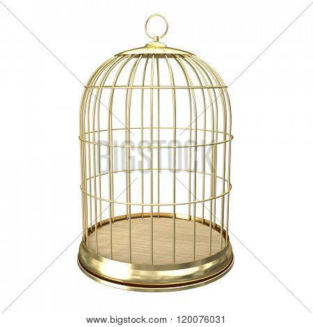3d golden birdcage on white background
