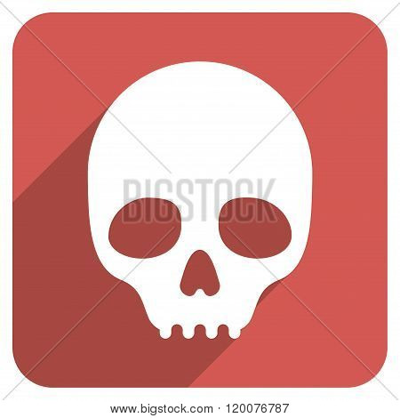 Skull Flat Rounded Square Icon with Long Shadow