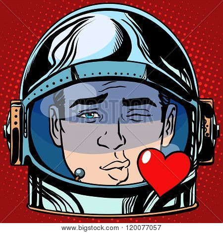 emoticon kiss love Emoji face man astronaut retro