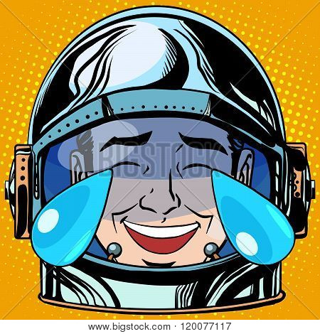 emoticon laughter tears Emoji face man astronaut retro