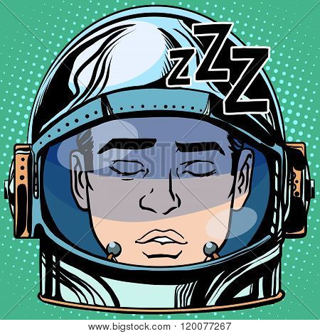 emoticon sleep Emoji face man astronaut retro