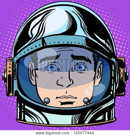 emoticon surprise Emoji face man astronaut retro