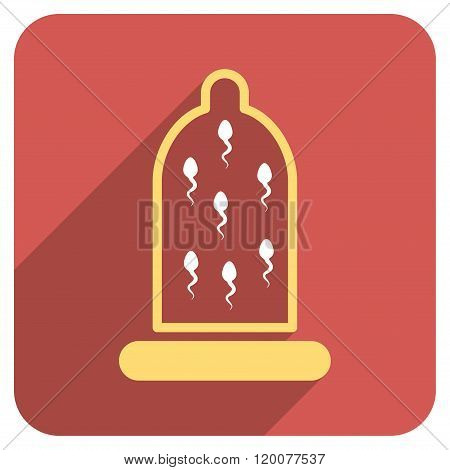Sperm Protection Flat Rounded Square Icon with Long Shadow