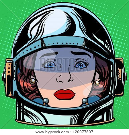 emoticon sadness Emoji face woman astronaut retro