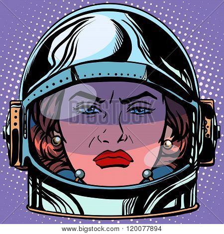 emoticon rage Emoji face woman astronaut retro