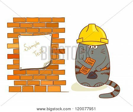 Cartoon cat builder near brick wall. Funny construction worker