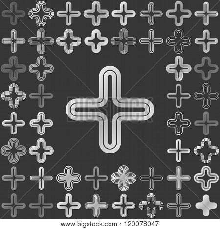 Silver line cross logo design set
