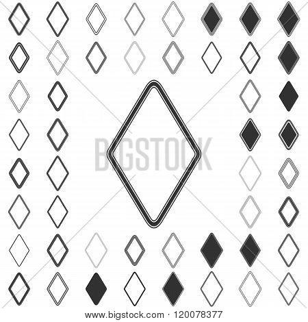 Line rhombus logo design set