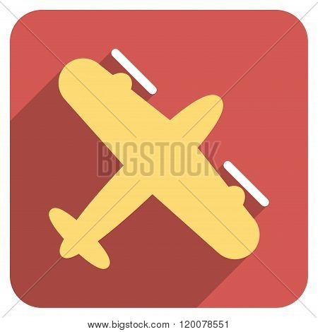 Screw Aeroplane Flat Rounded Square Icon with Long Shadow