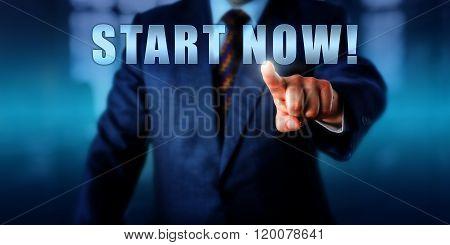 Entrepreneur Touching Start Now!