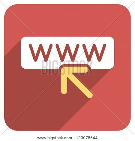 Select Website Flat Rounded Square Icon with Long Shadow