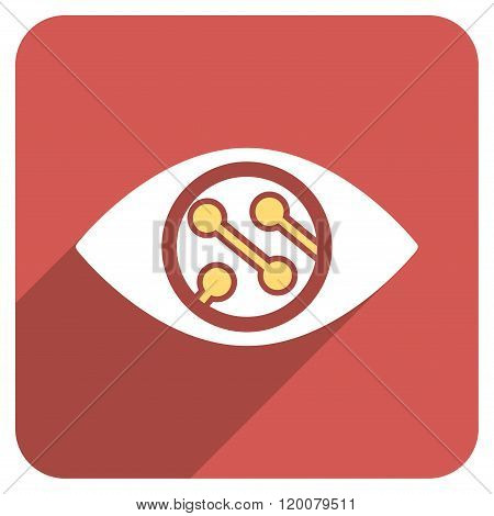Smart Lens Flat Rounded Square Icon with Long Shadow