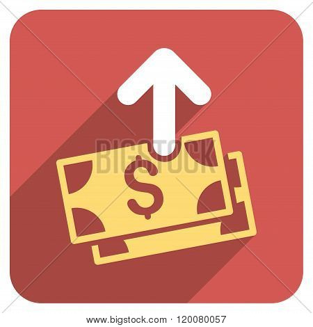 Spend Money Flat Rounded Square Icon with Long Shadow
