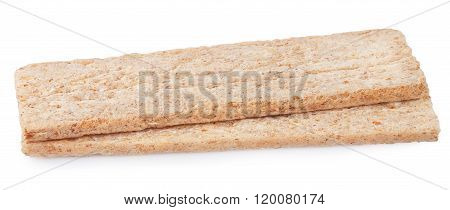 Two Pieces Of Crispbread Isolated On White Background