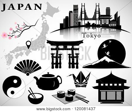 Japan vector set: symbols of Japan, map, Tokyo skyline