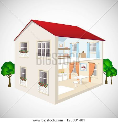 Building flat 3d web isometric concept vector. Exterior and interior isometry rooms. House in cut.