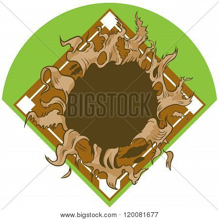 Hole Ripping Out Of Baseball Diamond Vector Cartoon Clip Art